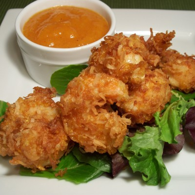 Cornflake Coconut Shrimp with Sweet and Spicy Mango Dipping Sauce