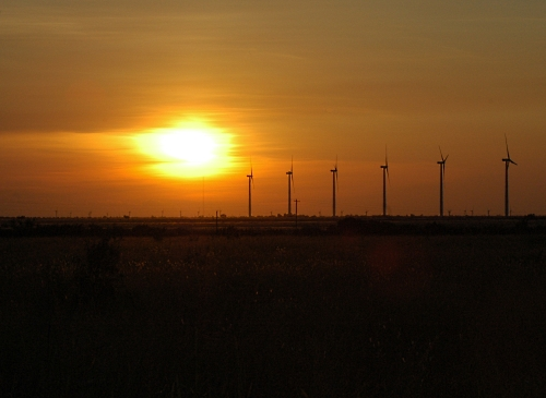 West Texas Sunset with Turbines