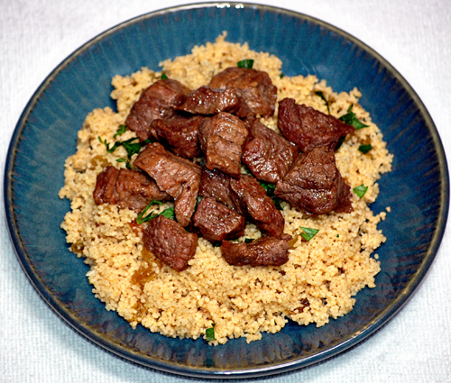 Beef Kabobs and Spiced Bulgar