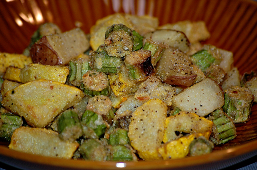Fried Tater, Squash, and Okra Mix