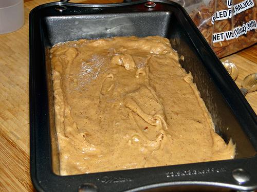apple butter bread batter in Wilton pan