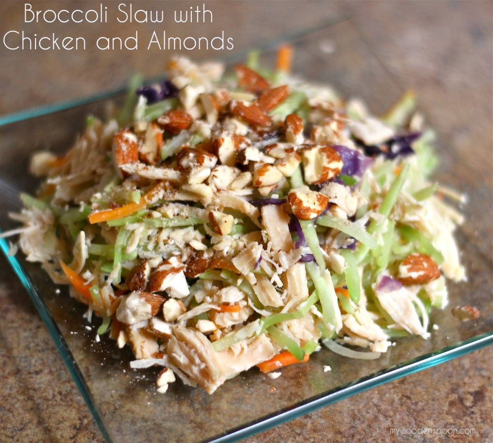 Broccoli Slaw with Chicken and Almonds