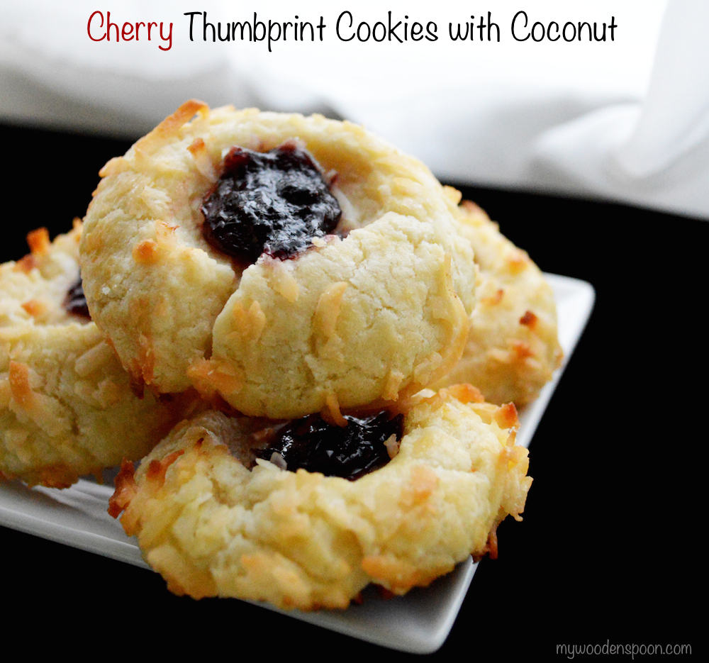 Cherry Thumbprint Cookie with Coconut