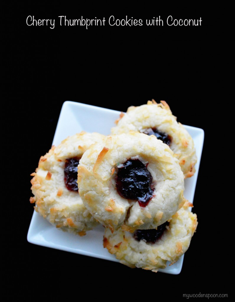 Cherry Thumbprint Cookies with Coconut