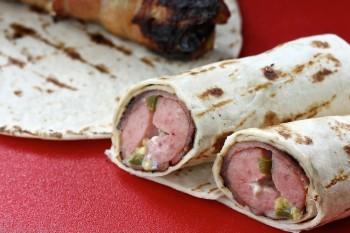 Cheesy Jalapeño Sausage Bacon Wraps