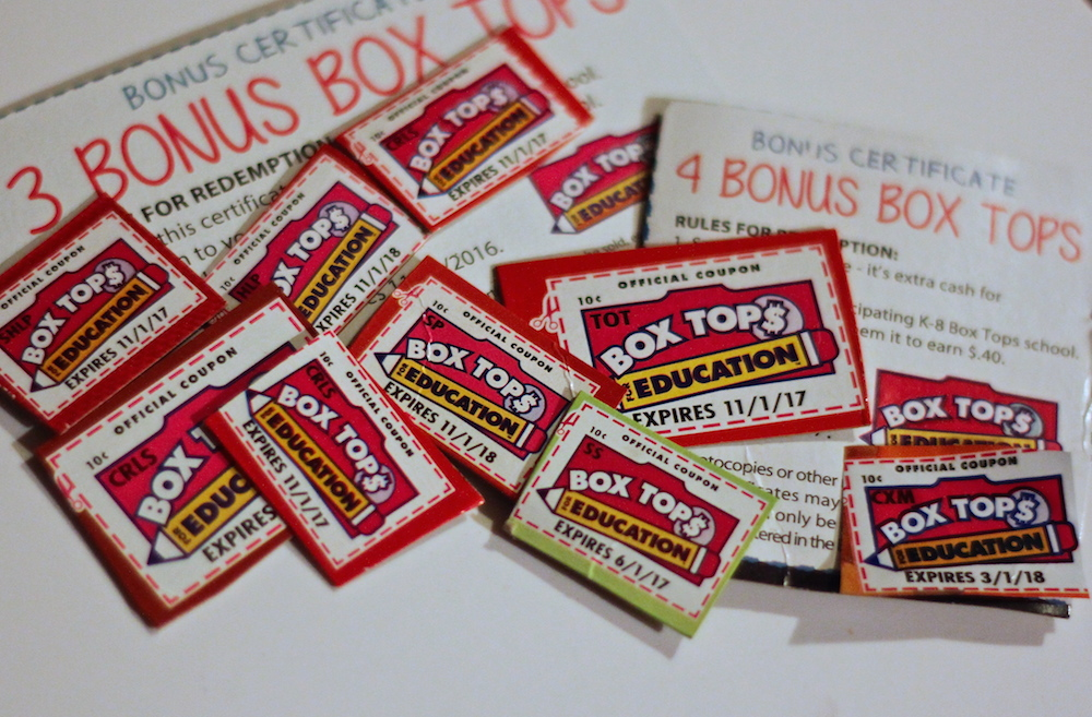 Box Tops for Education pile