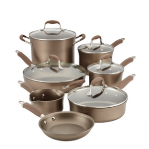 Beautiful, high-quality cookware set in Bronze, from Anolon. It features Umber nonstick on both inside and outside of pans.