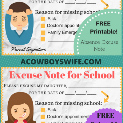 Back to School- Absence Excuse Notes {Printable}