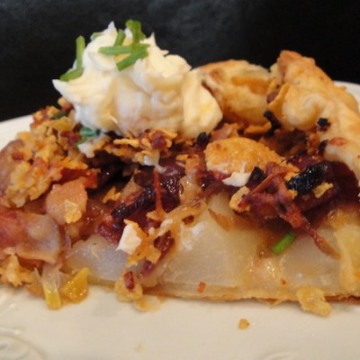 It's a Honey: Onion, Bacon, Pear Galette with Marmalade Mascarpone Cheese