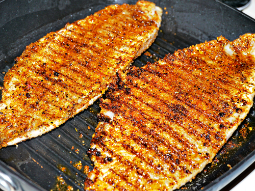 Grill marks on catfish