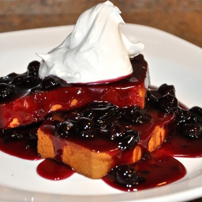 Honey Butter Toasted Pound Cake with Blueberry Glaze