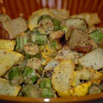 Fried Tater Squash and Okra