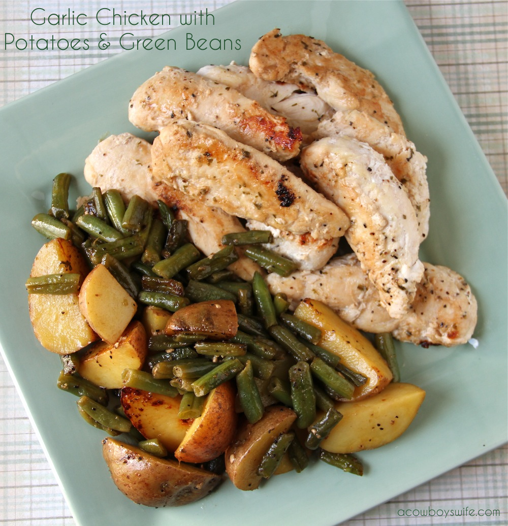 Garlic Chicken with Potatoes - Green Beans