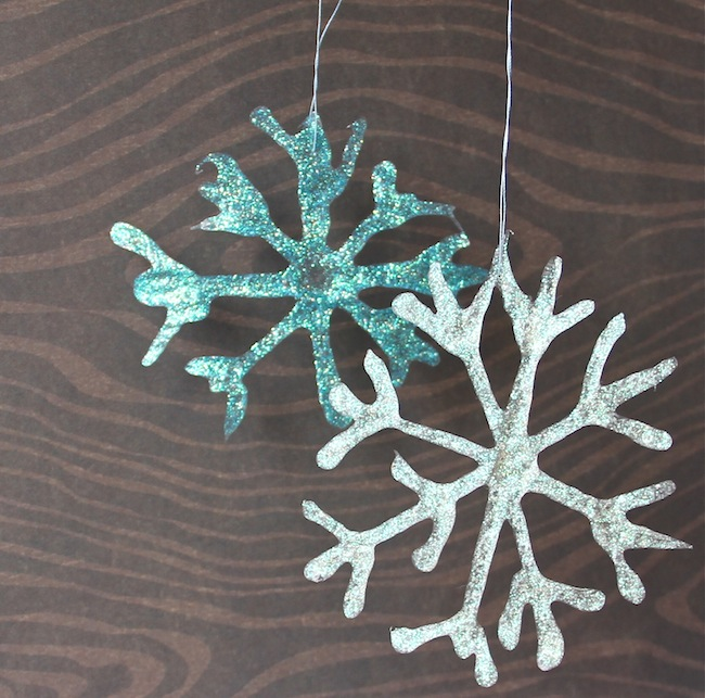 glittered glue snowflakes