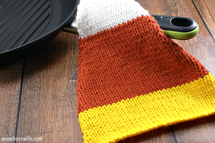 Knitted Candy Corn Potholder