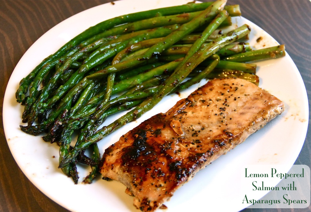 Lemon Peppered Salmon with Asparagus Spears