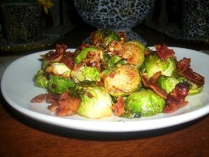 Bacon Pan Roasted Brussel Sprouts
