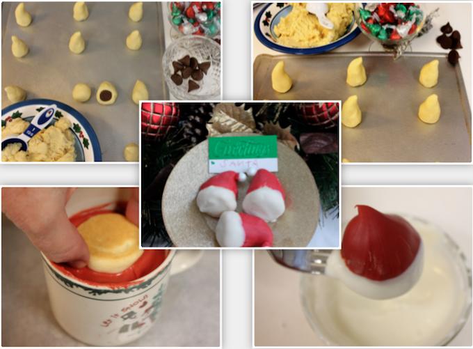 Santa Hat Cookies Step by step