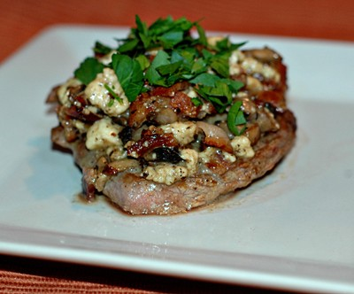 Steaks with Mushrooms, Blue Cheese & Frizzled Shallots