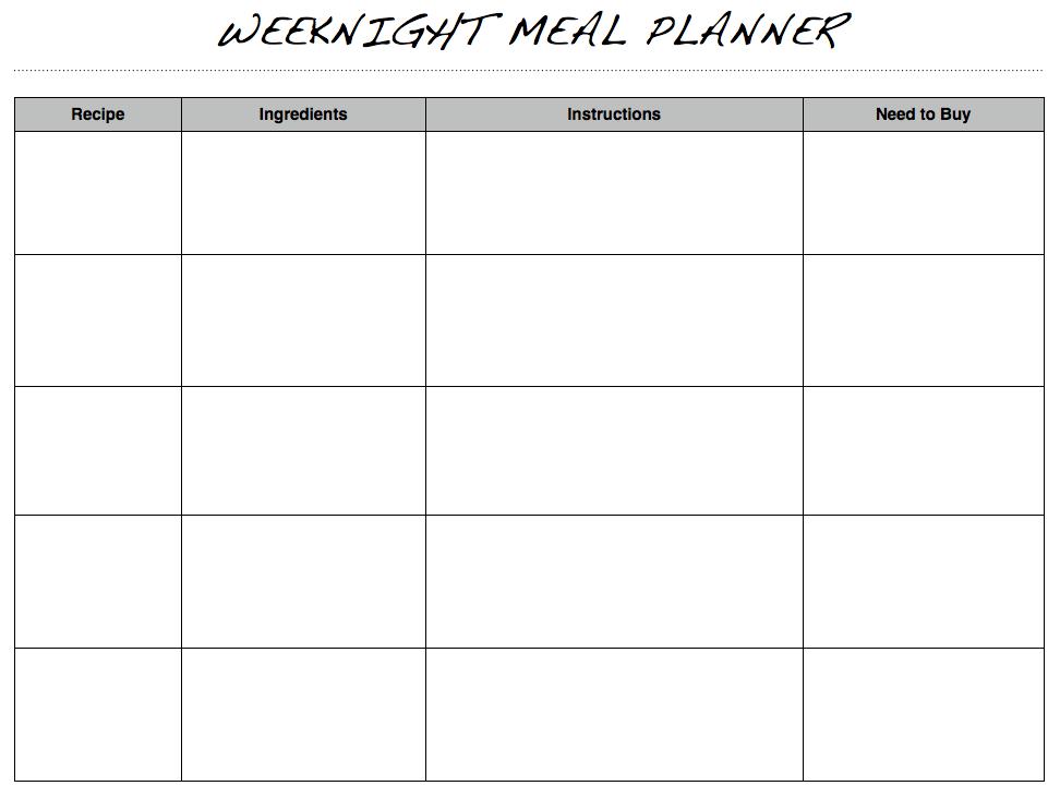 weeknight meal planner image