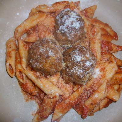 Spicy Meatballs With A Touch Of Sweetness Over Pasta