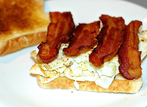 Bacon added on eggs