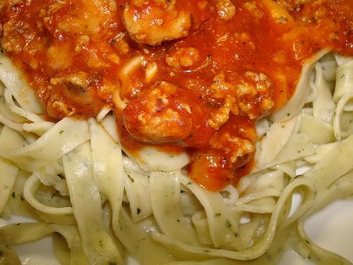 Basil Garlic Pasta with Meaty Sauce