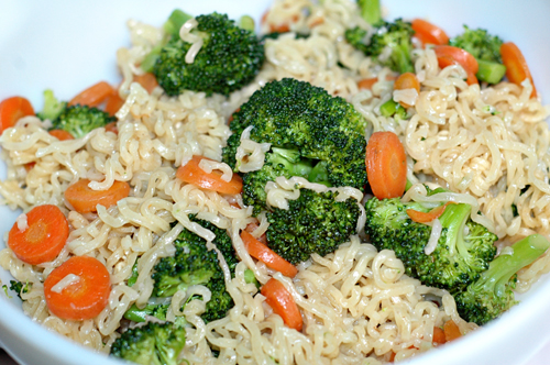 carrots, noodles, and broccoli