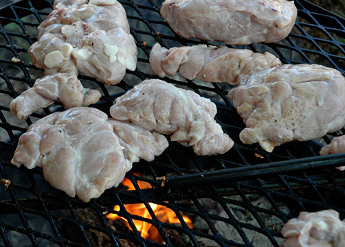 Sweetbreads on grill