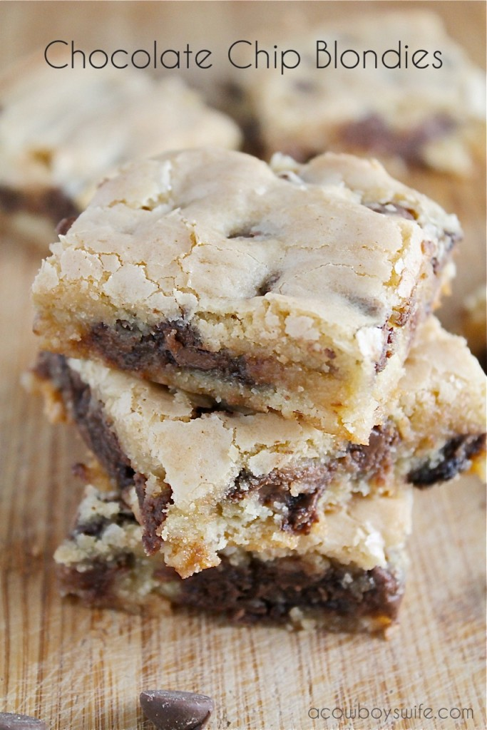 Chocolate Chip Blondies Recipe - A Cowboy's Wife