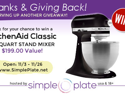 Thankful for You! KitchenAid Stand Mixer {Giveaway}