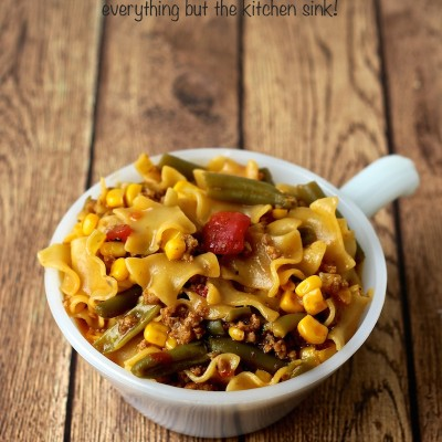 Hamburger Helper® Lasagna Goulash – Everything But the Kitchen Sink!