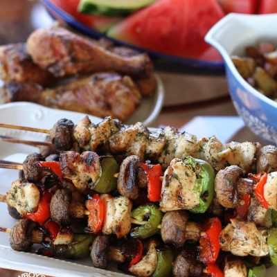 Grilled Lemon Chicken Kabobs with Mushrooms & Bell Peppers