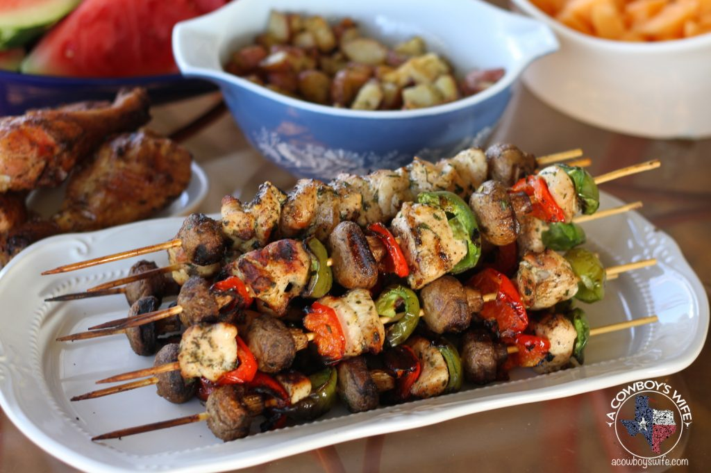 Grilled Lemon Chicken Kabobs with Mushrooms