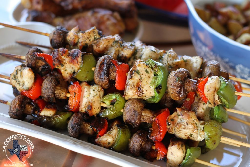 Grilled Lemon Chicken Kabobs with Mushrooms and Bell Peppers