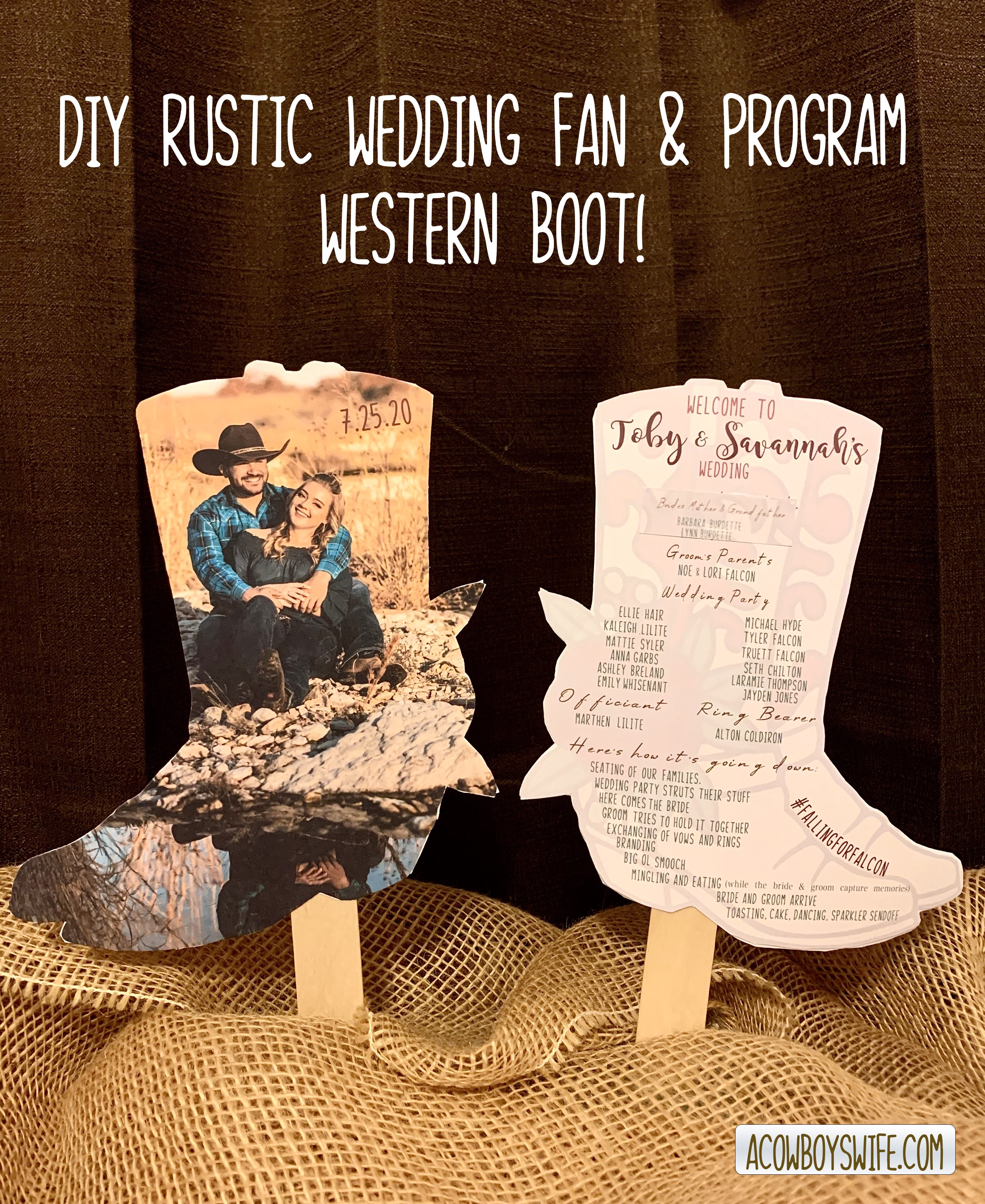 DIY Western Boot Wedding Fan & Program using Cricut