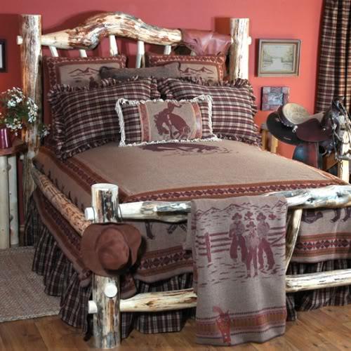 Cowboy bunkhouse bedspread