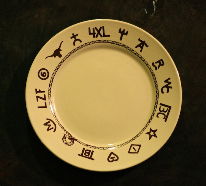 Brands Dinnerware Plate & Lone Star Western Decor - Branded Dinnerware #ACWGG - A Cowboyu0027s Wife