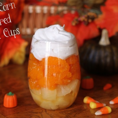 Candy Corn Inspired Fruit Cups for Fall