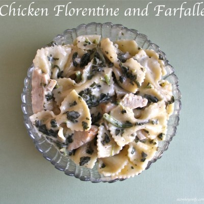 (Cook) – Chicken Florentine and Farfalle (Tell) – Anolon Advanced Bronze 5.25qt Sauteuse