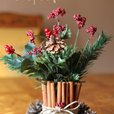 DIY – Cinnamon Stick Floral Centerpiece for Christmas