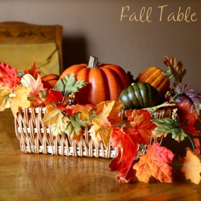 Fall Decor – Table Centerpiece with Leaves and Pumpkins