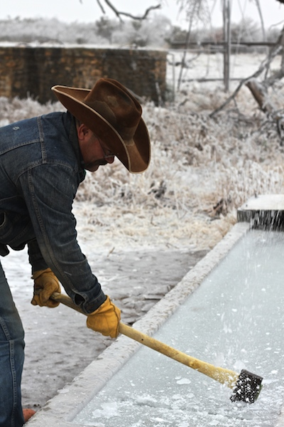 cowboy breaking ice