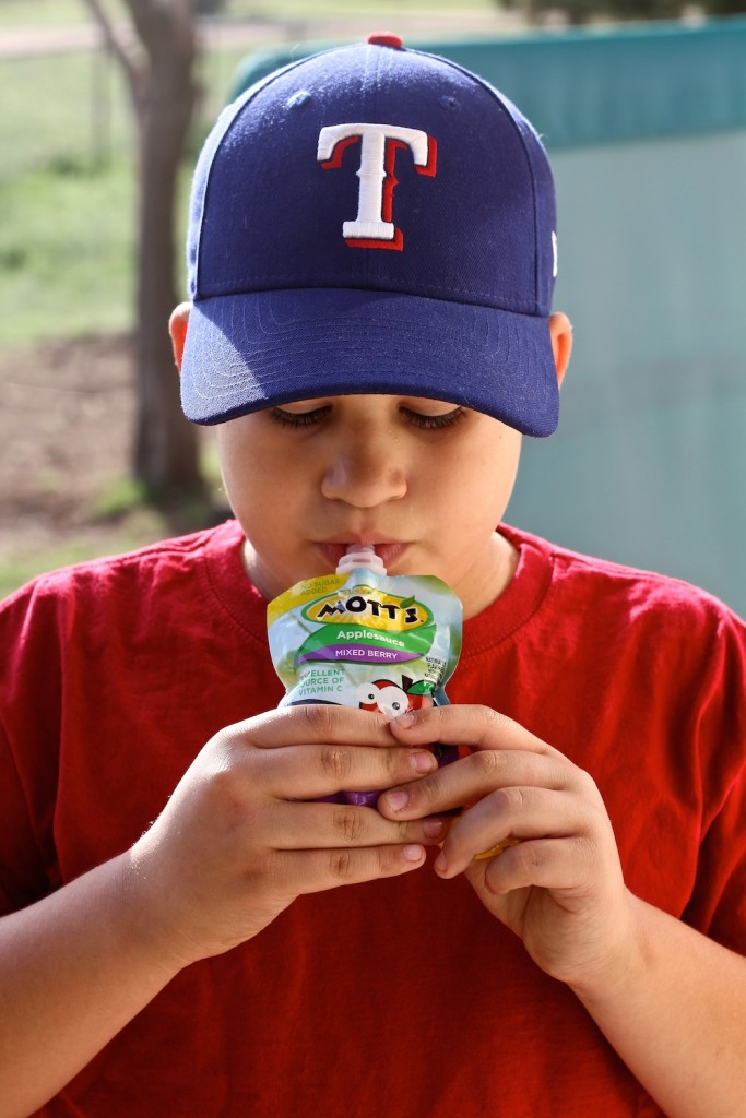 Truett with Mott's Snack and Go applesauce