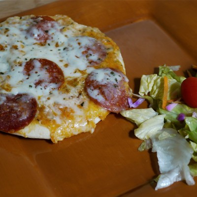 Pepperoni Pizza with a Side Salad